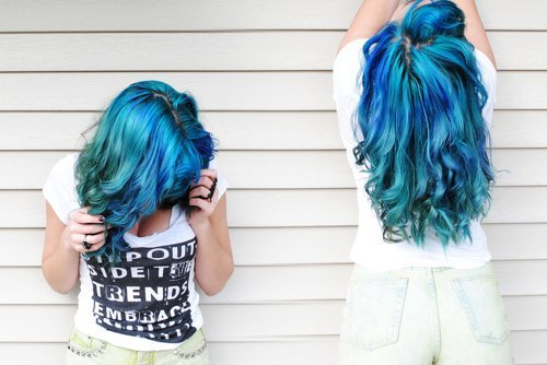 blue, fashion, girl, hair, heart