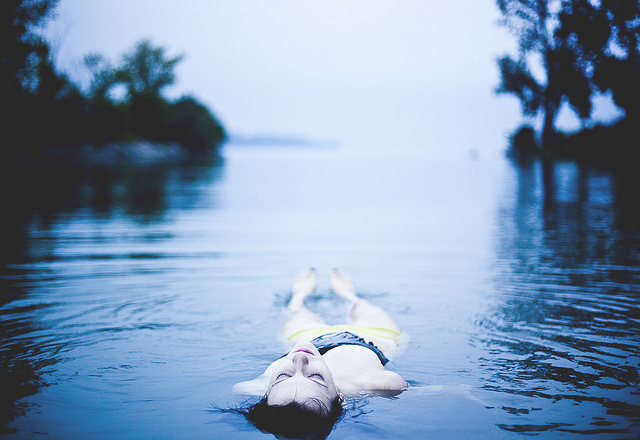 blue, girl, lake, photo