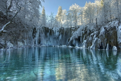 blue, nature, photography, sky, snow, trees, water