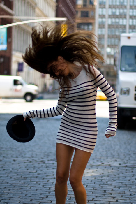body dress, cute, dress, fashion, fedora, girl, hair, photography, pretty, skinny, stripe, stripes, sweater dress