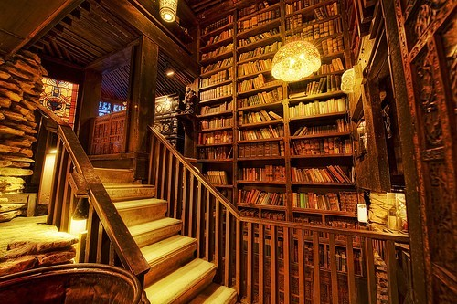 books, cityscape, golden, library, lighting, photo, photograph, scenerey, shleves, stained glass windows, stairs, study