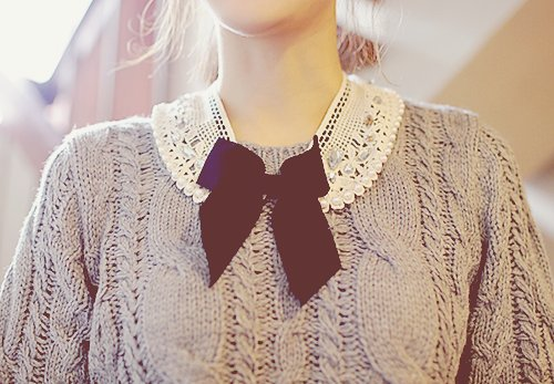 bow, bow collar, cable knit, collar, cute