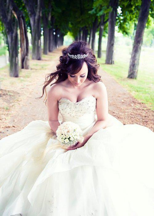 bride, dress, marriage, trees, white