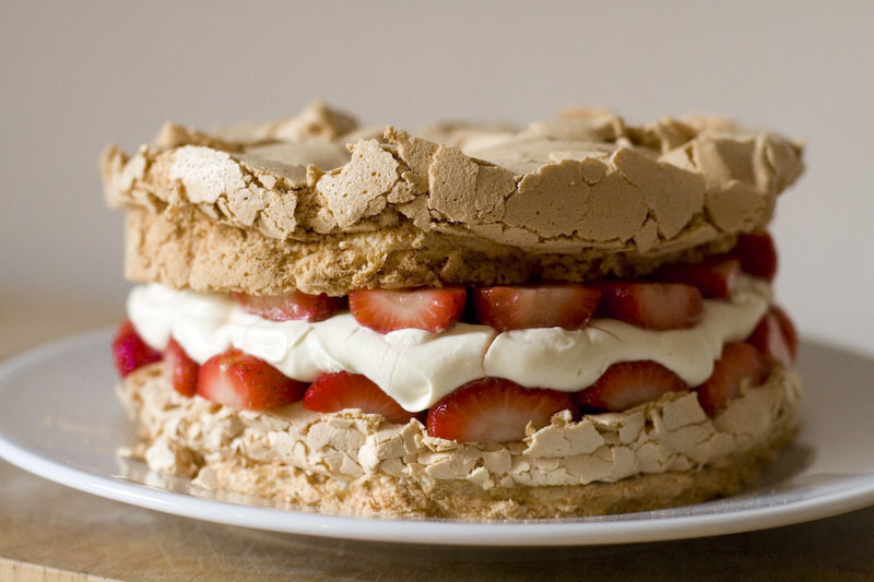 cake, cream, food, meringue, strawberries