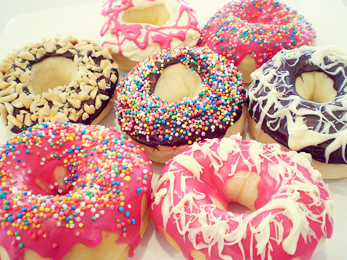candy, donut, food, pink, sweet
