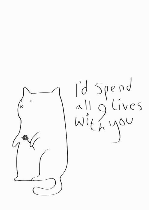 Cat Love Drawing Cat Draw Love Quotes