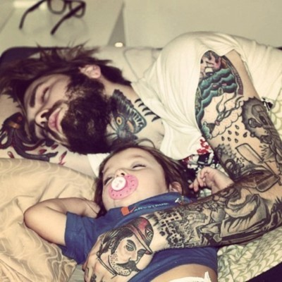 child, cute, father, hug, sleep