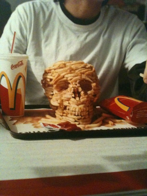 chips, fries, funny, holy shit, mcdonald, mcdonalds, skull