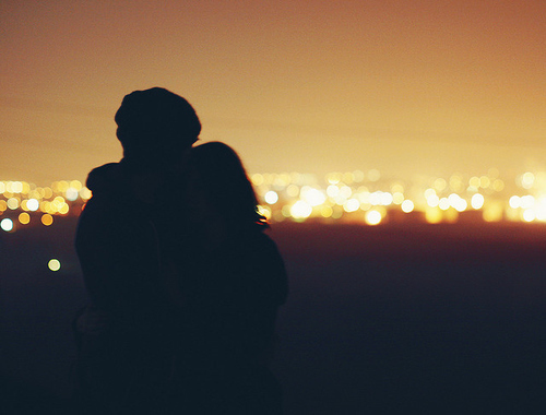 city, couple, girl, guy, hugging, love, silhouettes