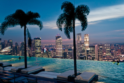 city, lights, luxury, night, paradise, photography, singapure, swimingpool