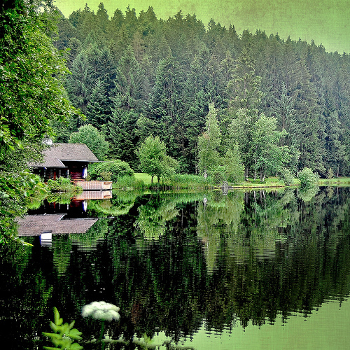 clear, green, house, lake, mountains