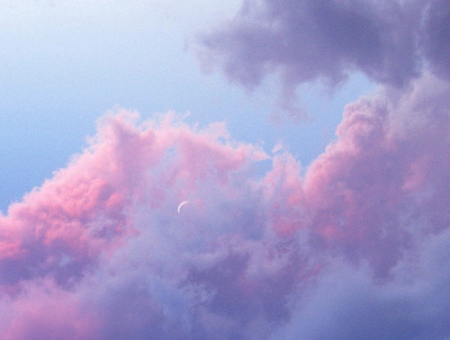 clouds, colorful, colors, cool, indie, moon, nice, photography, pink, purple, sky, vintage