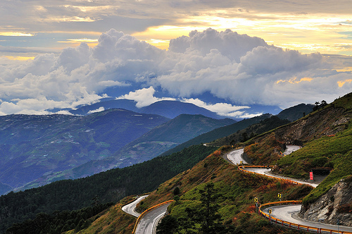 clouds, landscape, mountains, nature, road, scnenery, sun