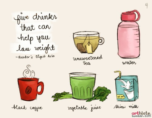 coffee, drinks, health foods, lose, milk, not milk, tea, vegetable juice, water, weight
