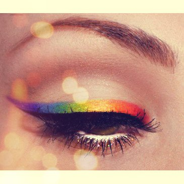 color, eye, eyebrow, eyeliner, lashes, makeup, rainbow