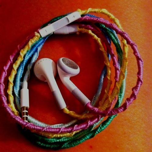 Colorful Cute Embroidery Floss Headphones - Image #438107 On Favim.com