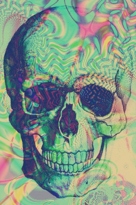 colorful, skull, trippy