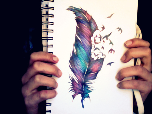 colourful, feather, tattoo