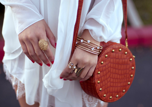 coral, dress, fashion, jewelry, little purse
