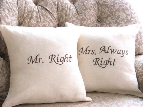 couple, cushion, cute, mr right, mrs always right