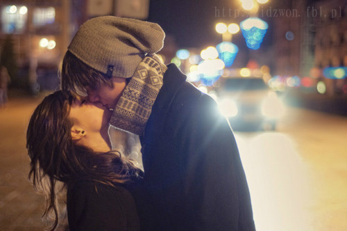 couple, cute, girl, guy, kiss, love, winter
