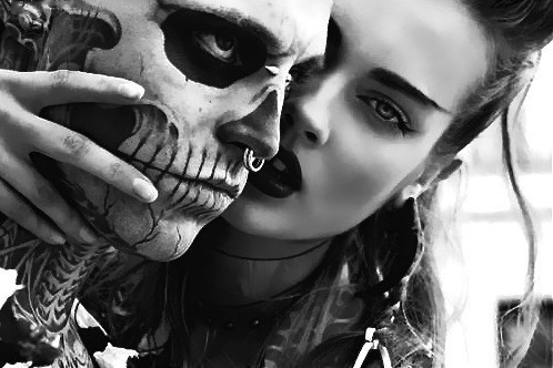 couple, fashion, girl, lovers, models, pretty, skull boy