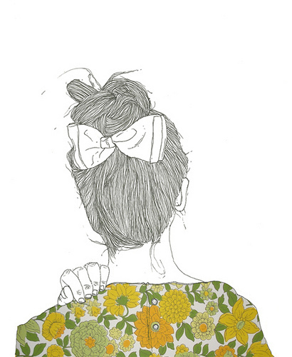 cute, drawing, flowers, girl, hair, yellow