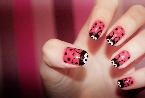 cute, girly, kawaii, nails, pink