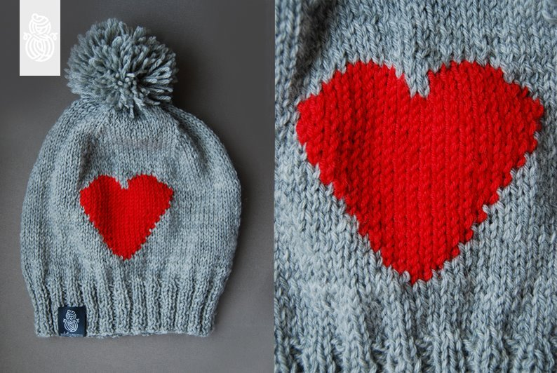 cute, heart, knitted beanie, knitwear, love