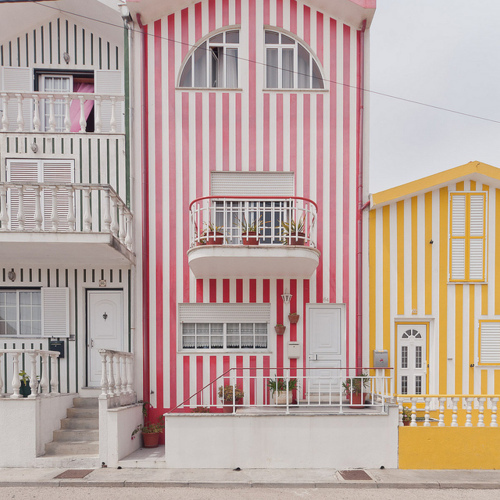 cute, house, portugal, stripes, vintage