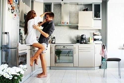 cute, kitchen, love