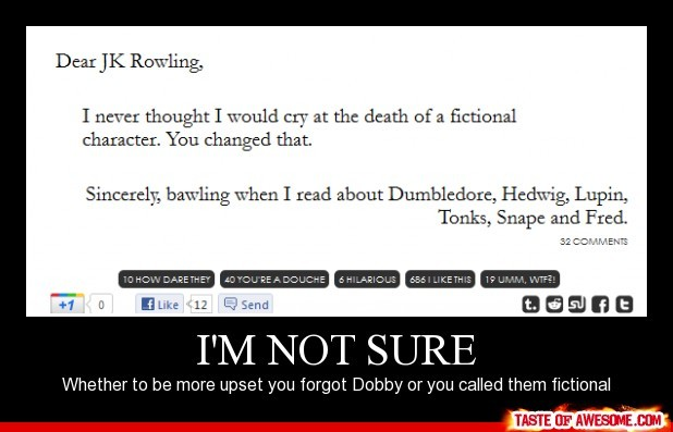 dearblankpleaseblank, death, dumbledore, fictional, fred