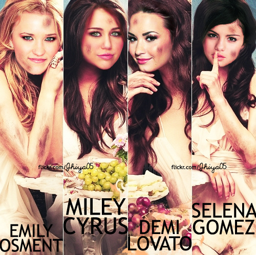 demi lovato, emily osment, little liars, lovely, miley cyrus, photography, selena gomez, unique, wtf