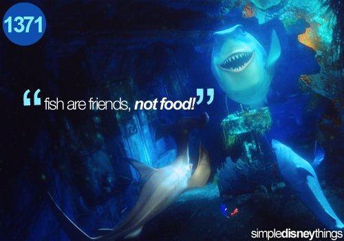 disney, dory, film, finding nemo, fish, marlin, movie, nemo, phrase, pixar, quote, shark, sharks