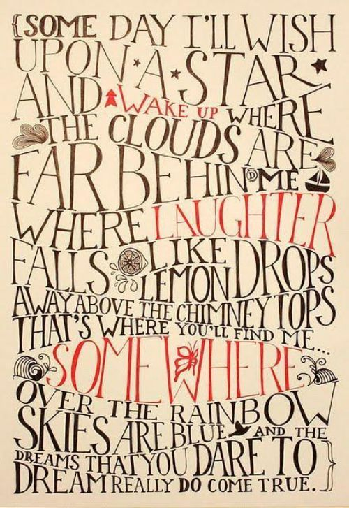 dorothy, judy garland, lyrics, rainbow, text