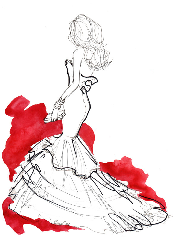 draw, dress, gala, girl, illustration, inslee, red, sketch, white