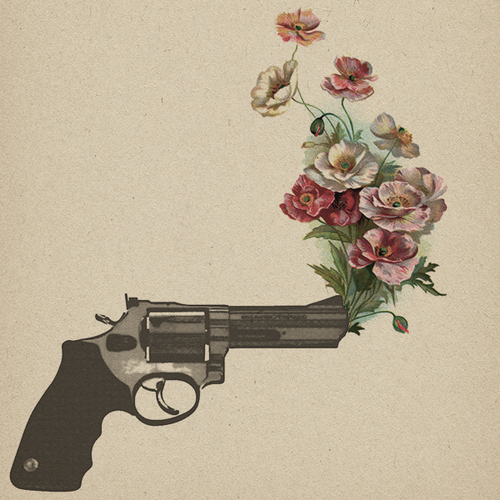 drawing, flowers, gun, no war, peace, vintage, First Set on Favim.com