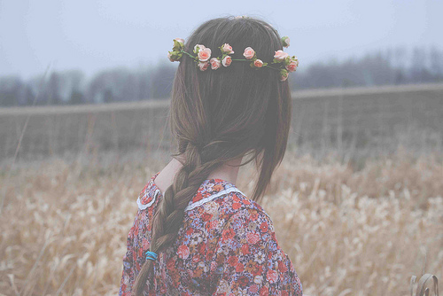 fashion, field, girl, hair, roses