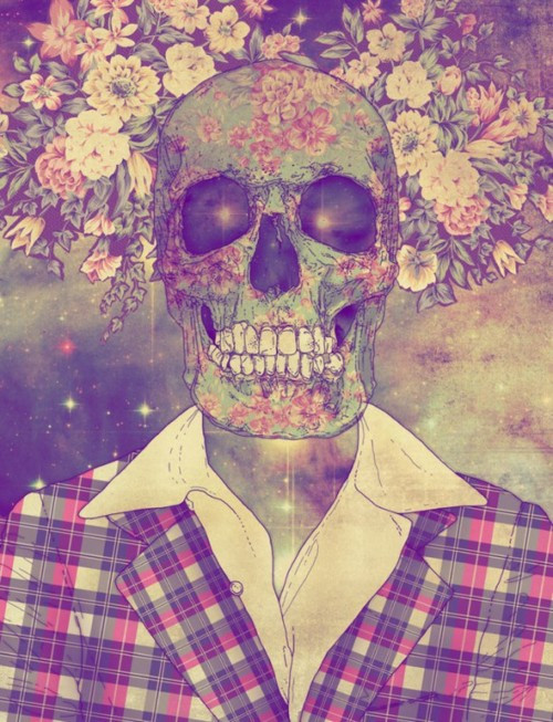 fashion, flowers, skull, vintage