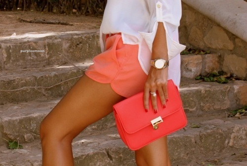fashion, girl, orange, short, style, tan, watch