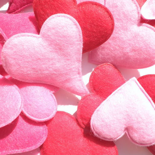 felt, heart-shaped, love, pink, red