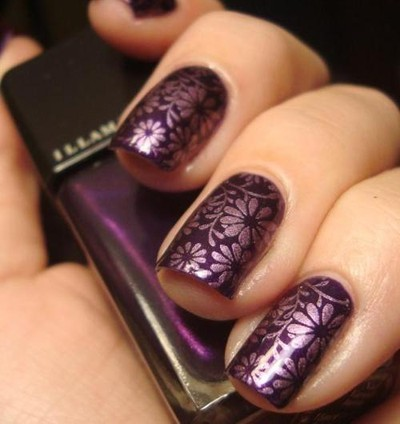 flower pattern, flower theme, flowers, girly, nail art, nail polish, nails, purple