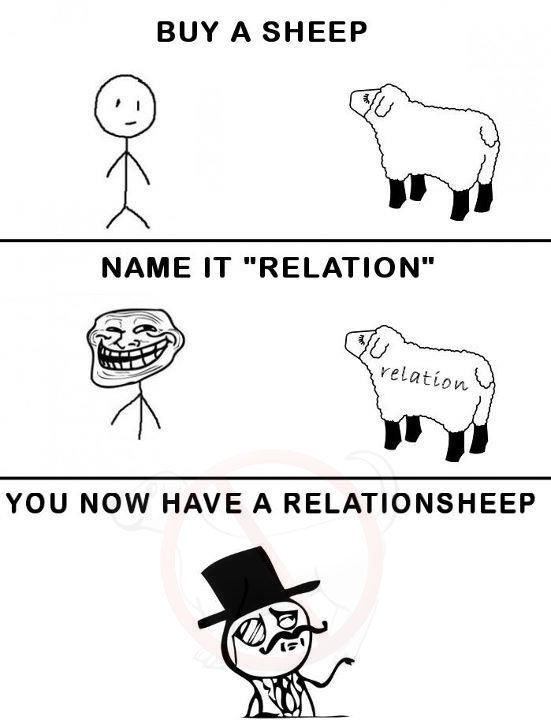 forever alone, funny, haha, relationsheep, relationship, sheep, troll, trollface