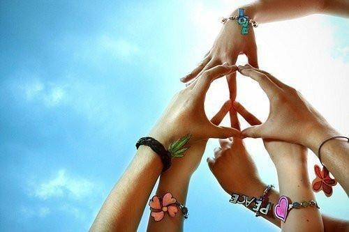 friends, friendship, hands, love, peace, sky