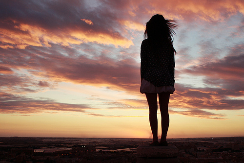 girl, hair, lonely, photography, sky