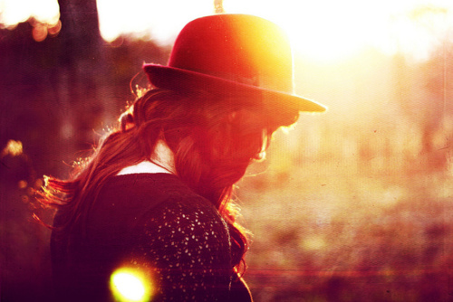 girl, hat, light, long hair, summer, sunlight, vintage