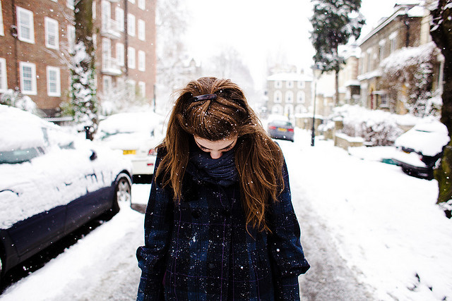 girl, photography, portrait, snow, snowing