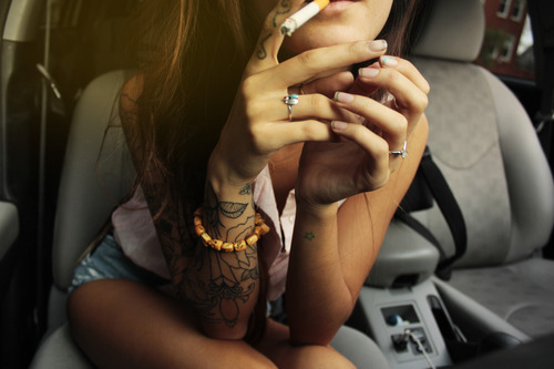 girl, smoke, tattoo