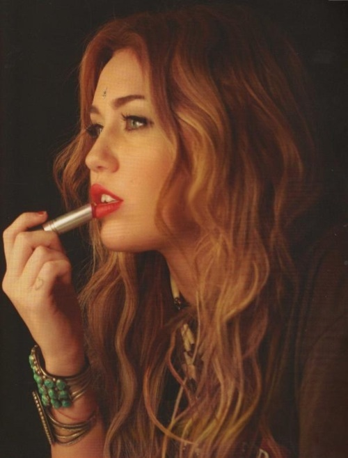 gorgeous, hair, lipstick, makeup, miley cyrus, red