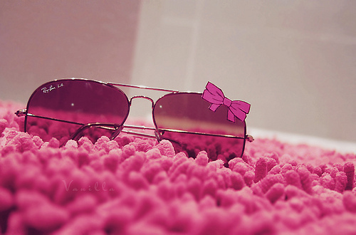 photography, pink, ray-ban, ribbon, sunglasses